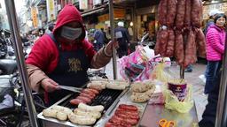 Taiwan sausage stall in day market Taipei Taiwan Footage