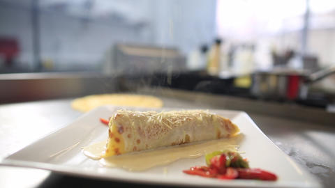 Pancake Stuffed With Vegetables, Vegetable Crepe With Parmesan Cheese Footage