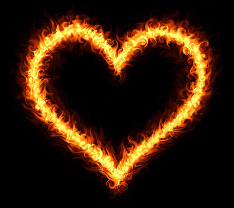 Burning heart outline Photo