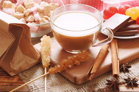 Masala chai tea with sweet food Photo