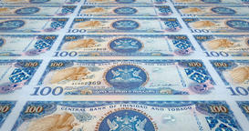 Banknotes of one hundred dollars of Trinidad and Tobago, cash money, loop Animation