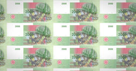 Banknotes of two thousand comorian francs of Comoros, cash money, loop Animation