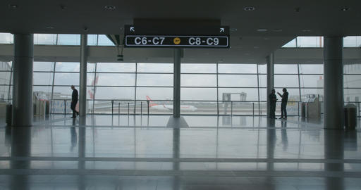 silhouette of People in airport terminal walking with luggage Footage