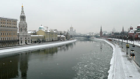 Kremlin embankment and Moscow river Footage