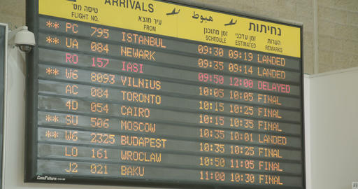 Tel Aviv, Israel - January 2018. Arrivals information board at the airport Footage