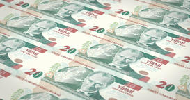 Banknotes of twenty turkish liras of Turkey, cash money, loop Animation