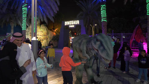 Dubai, UAE - January 13, 2018. A terrible monster of the dinosaur scared 영상물