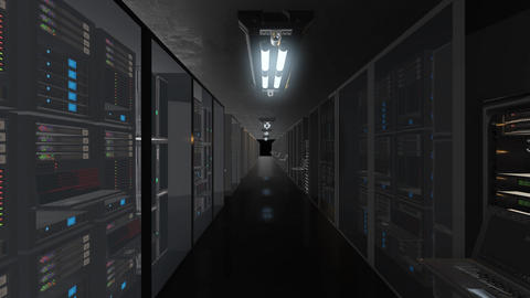 Animation presenting data servers while working. LED lights are flashing. Video Animation