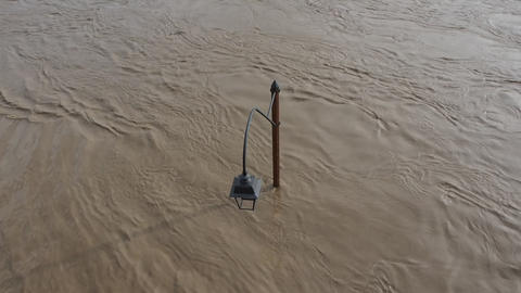 River flood with street lamp Footage