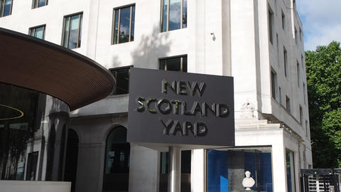 New Scotland Yard police sign in London Footage
