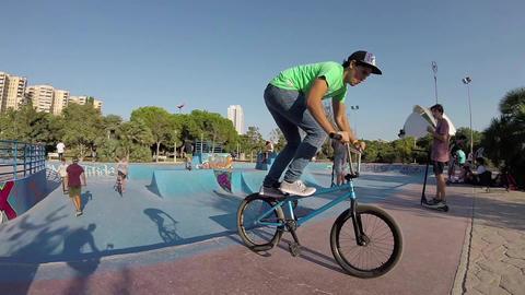 Extreme Biking in Valencia Skatepark Bowl Slow Motion Image
