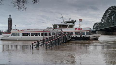 Flood on Rhine river, Cologne, Germany Photo