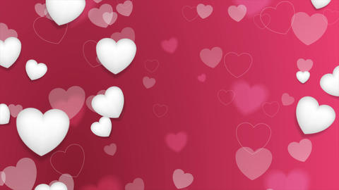 Pink and white hearts St Valentines Day video animation Animación