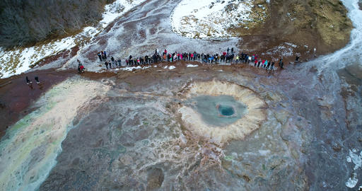 Strokkur Geyser at Geysir Hot Springs in Iceland during winter Footage