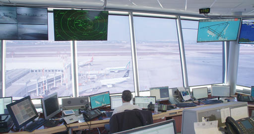 Tel Aviv, Israel - January 2018. Air traffic controllers in the control tower Footage