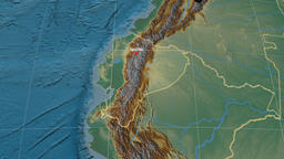 Zoom-in on Ecuador extruded. Relief Animation