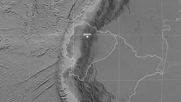Zoom-in on Ecuador outlined. Grayscale Animation