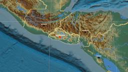 Zoom-in on El Salvador extruded. Relief Animation