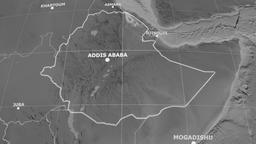 Zoom-in on Ethiopia extruded. Grayscale Animation