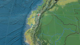 Zoom-in on Ecuador extruded. Topographic Animation