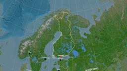 Zoom-in on Finland outlined. Satellite Animation