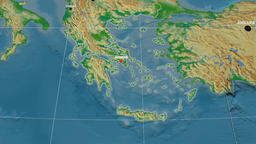 Zoom-in on Greece extruded. Physical Animation