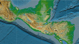 Zoom-in on Guatemala outlined. Physical Animation
