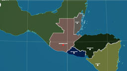 Zoom-in on Guatemala outlined. Administrative Animation