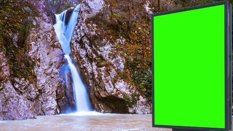 Billboard green screen near the river Live Action