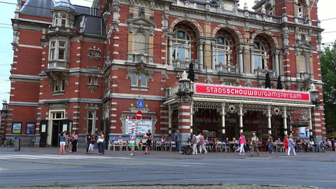 Big Theatre And Event Building At Amsterdam Leidseplein City Of Amsterdam stock footage