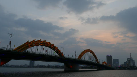 Time lapse from the Dragon bridge during sunset Footage