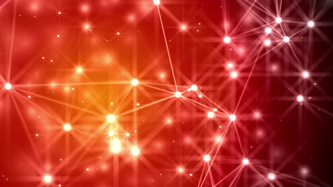 Abstract lines, dots and stars evolving over a Christmas red background Animation