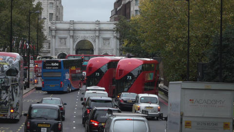 London Busses at Marble Arch - LONDON, ENGLAND Live Action