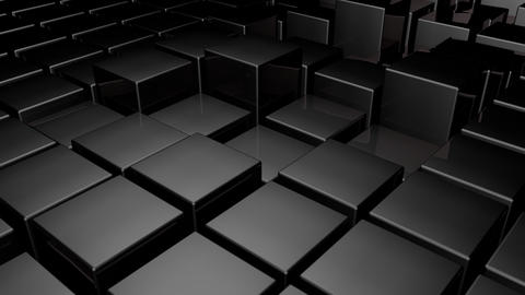 Black 3d glossy plastic cubes smoothly going up and down - abstract technology b Animation