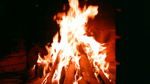 fire burns in the fireplace Footage