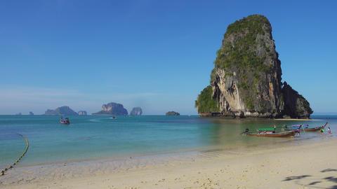 Boats on tropical beach, Krabi, Thailand 4k Footage