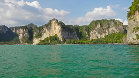 View on the coastline from boat, Thailand 4k Footage