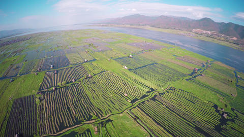 Flying over floating gardens on Inle Lake 4k Footage