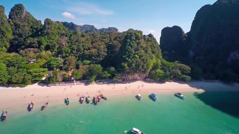 Aerial round view on tropical beach, Thailand Footage