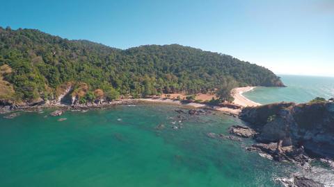 Flying over lighthouse on coast of Lanta island Footage