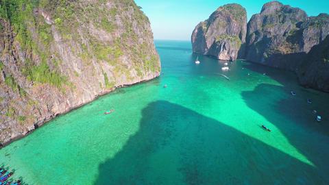Aerial view on Maya bay, Phi Phi Leh, Thailand 4k Footage