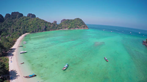 Flying over Lana bay on Phi-Phi Don, Thailand 4k Footage