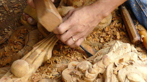 Close up from Wood carving Footage