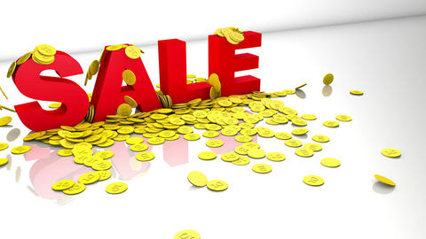 Dynamic 3d sale event concept - letters pushing gold coins towards viewer Animation