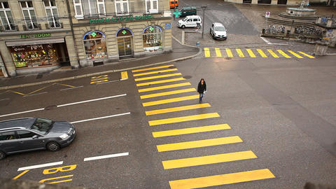 Zebra crossing at Swiss Roads Footage