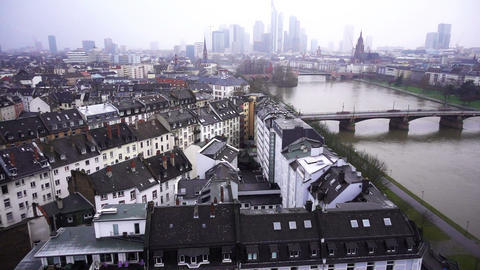 Frankfurt Germany Maine River and Business Towers in Snowy Day Time Lapse Archivo