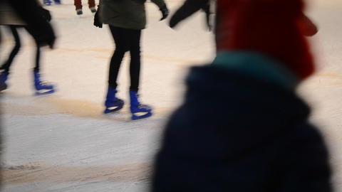 Foot legs skating rink open sky Footage