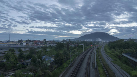 Timelapse transportation railway in the colorful sunrise Live Action