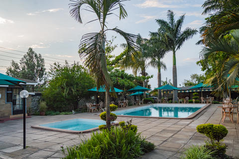 Pool and wading pool in a tropical setting with palm trees in th フォト