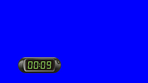 10 second Digital Countdown Timer, Counter. Left, black, isolated Animation